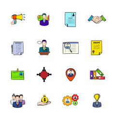 Human resources icons set cartoon vector
