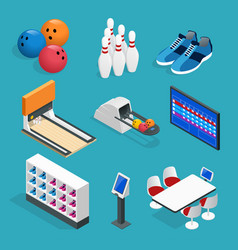 isometric bowling realistic icons set with game vector image