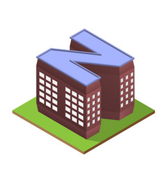 Isometric building letter n form vector