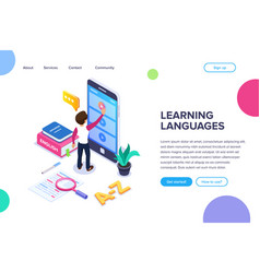 Isometric learning languages concept person vector