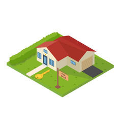 isometric small house for rent vector image