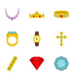 Jewelry collection icon set flat style vector