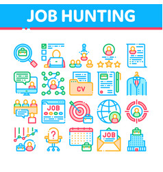 job hunting collection elements icons set vector image