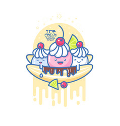 Kawaii smiled ice cream banana split vector