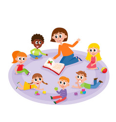 kindergarten kids and teacher reading a book vector image vector image