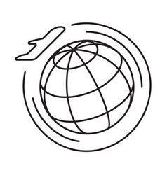 line icon round the world flights vector image