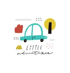 little adventurer handwritten text cute cartoon vector image