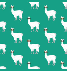 llama in round glasses seamless pattern vector image