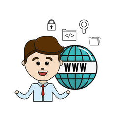 Man with global internet icons technology vector