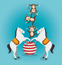Monkeys and horses circus show vector