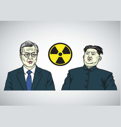Moon jae in vs kim jong un caricature portrait vector