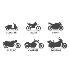 Motorcycle Type and Model Objects icons Set vector