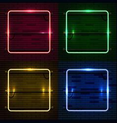 neon lamp casino rectangel frame on brick wall vector image