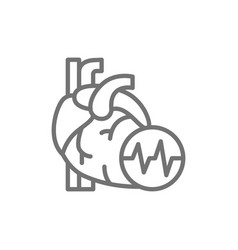 Obesity heart visceral fat heart attack line vector