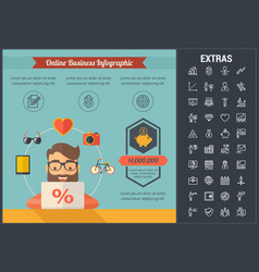 Online business infographic template and elements vector