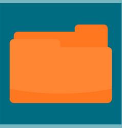 orange folder icon flat style vector image
