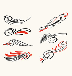 Pinstriping ornament elements set vector