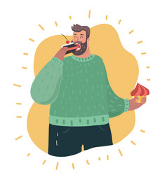 plus size guy holding in hands cakes and eating vector image
