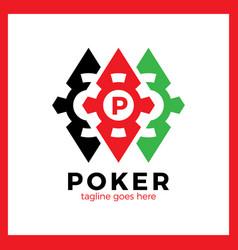 Poker casino logo - red rhomb vector