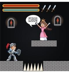 Princess warrior and videogame design vector image