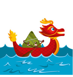 red dragon rice dumpling paddling sea festival vector image