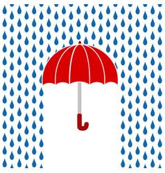Red umbrella under rain greeting card stock vector