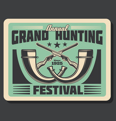 Retro poster for hunting festival vector