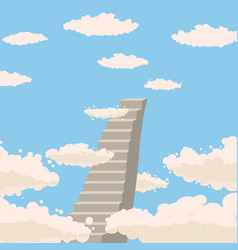 Road stairs to heaven sky clouds christianity vector