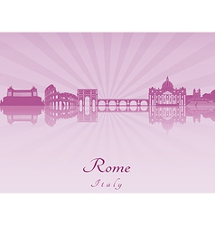 Rome skyline in purple radiant orchid vector image