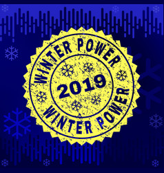 Rubber winter power stamp seal on winter vector