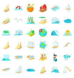 Salty water icons set cartoon style vector
