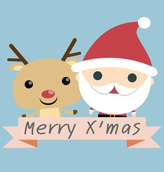 Santa and Reindeer Christmas vector image