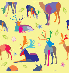 seamless pattern with deers and flowers vector image