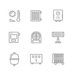 set line icons heating vector image