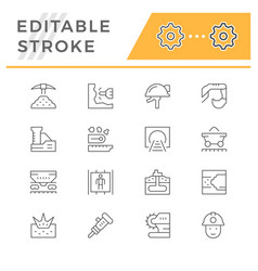 set line icons mining vector image