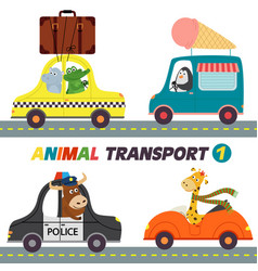 set of isolated transports with animals part 1 vector image