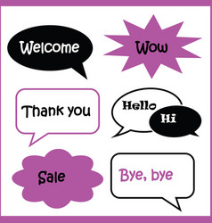 set of speech bubbles various shape in black vector image