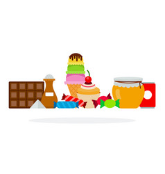 set sweet foods flat isolated vector image