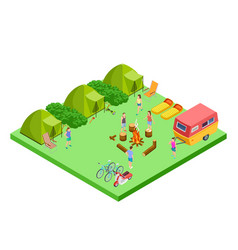 Summer camping isometric with van and tents vector