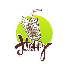Take your summer drink and enjoy our happy hour vector