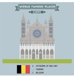 Tournai Cathedral vector image