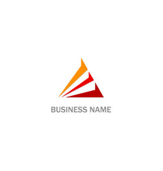 triangle shape line red business logo vector image