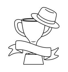 trophy with hat and ribbon black and white vector image