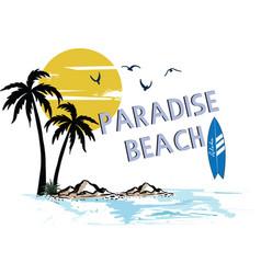 tropical island paradise beach hawaii surf time vector image