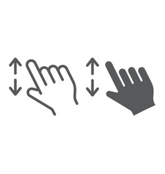 Two fingers zoom in line and glyph icon gesture vector