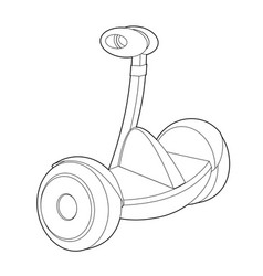 two wheeled electric vehicle icon outline vector image
