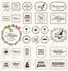 Vintage Restaurant Menu and Bakery Frame Set vector