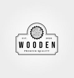 Vintage wooden and saw emblem logo symbol design vector