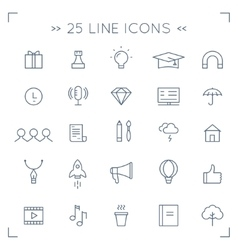 Web Community and Social Media Lined Icons vector