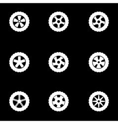 white wheel icon set vector image